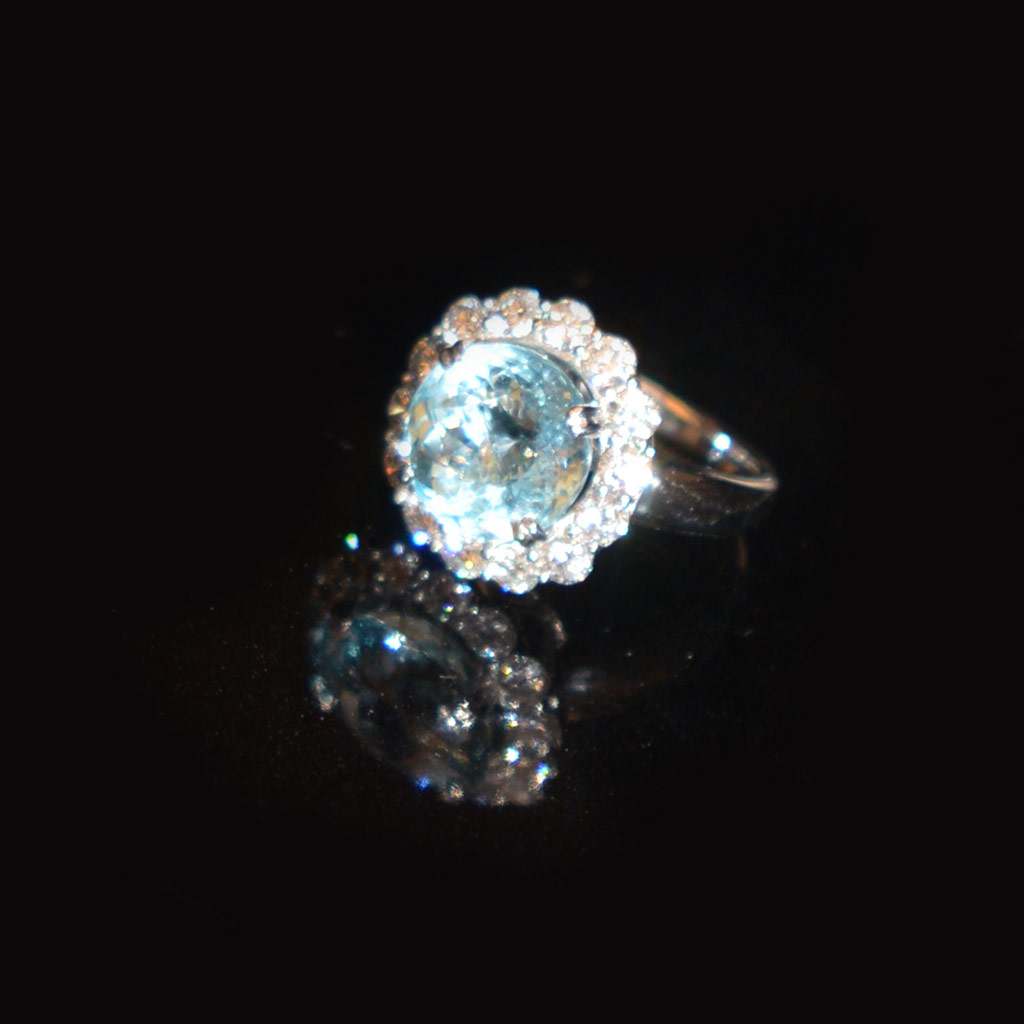 One of a kind aquamarine and diamond ring £5,500