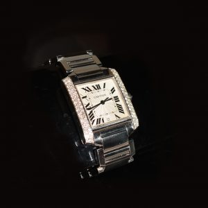 Diamond set Cartier tank, box and papers included £6,500