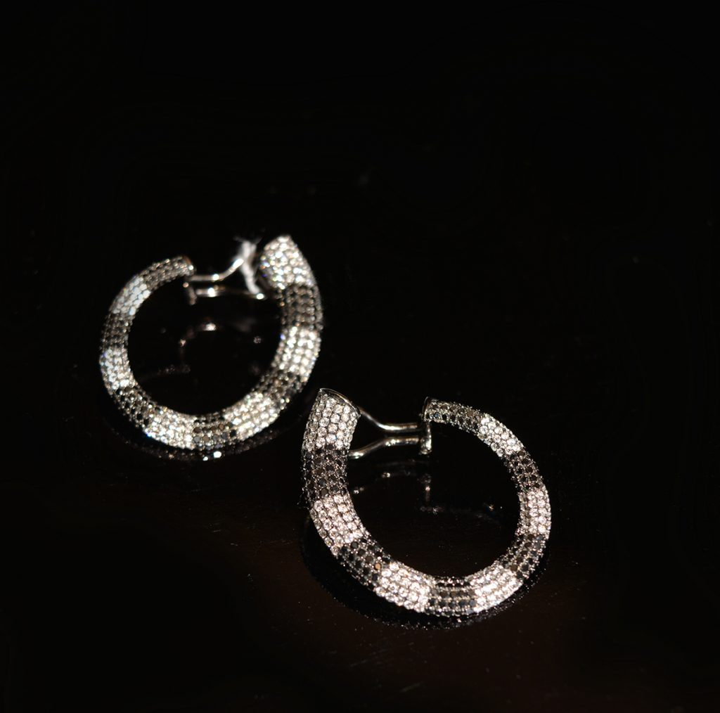 Stunning black and white diamond earrings, totally unique to us £2750.00