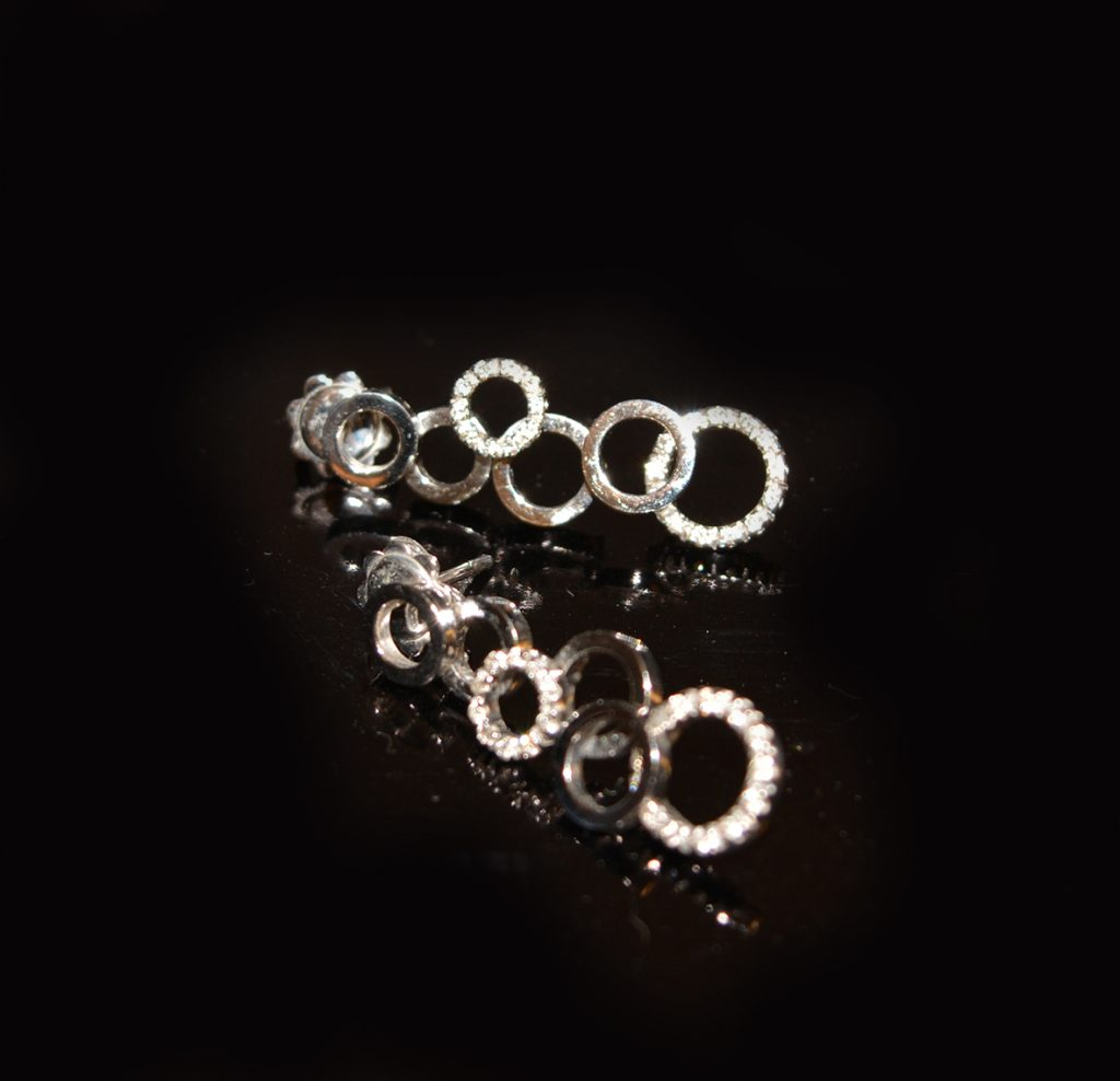 Diamond and white gold 'bubble earrings, pendant also available £1,000.00